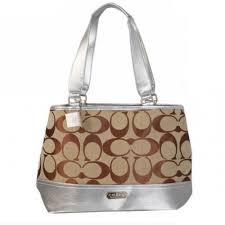 Coach Hamptons Weekend Signature Colorblock Large Silver Totes 394
