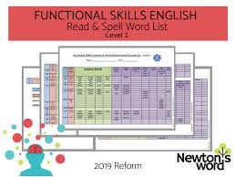 Functional Words List 2019 Reform Functional Skills English Common Work Related Read Spell Words L1
