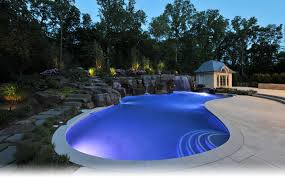 inground pools at night. Beautiful View At Night From Luxury Swimming Pools With Waterfalls And Creative Pool Lighting Decor Ideas Inground
