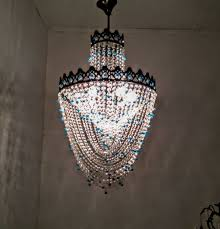 french brass crystal chandelier with blue beads 1970s