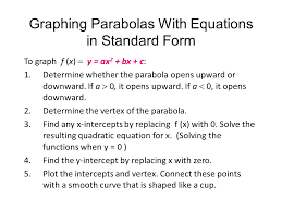 graphing parabolas with equations in standard form to graph f x y