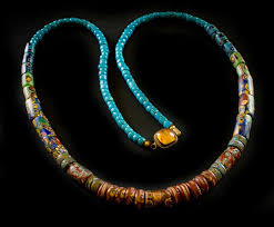gorgeous long necklace of rare antique venetian beads from the late 1800 s early 1900 s the beads were used in the african trade