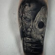 Monster Face Mask Tattoo Arm Tattoos