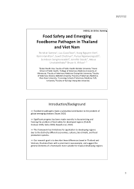 food safety and emerging foodborne pathogens in thailand and vietnam