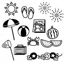 モノクロの夏休みアイコン 無料イラスト素材素材ラボ
