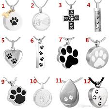 diffe design of dog cat paw print cremation jewelry pet ashes holder snless steel memorial urn necklace with snake chain canada 2019 from