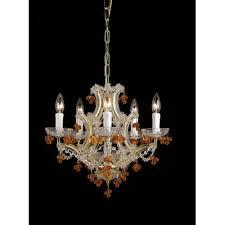 hot deal 5 light glass chandelier crystal color amber finish polished brass
