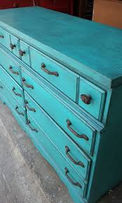 distressed turquoise furniture. Distressed Turquoise Furniture Maple Six Drawer Dresser Painted And With Black To