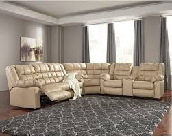 ashley brolayne 3 piece leather reclining sectional beige sectional sofas by homesquare