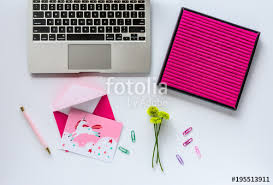 colorful office accessories. Blank Letter Board, Computer, Notecard And Colorful Office Accessories On White Desk C