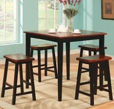 counter height dining table stools set two tone finish