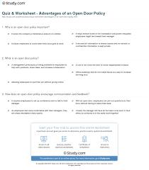 print open door policy meaning advanes worksheet