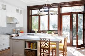 kitchen with faux bamboo counter stools