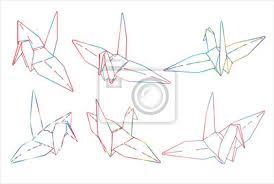 Fototapeta Bird Origami Papír Jednoduchý Vektor Ilustrace čáry Tetování