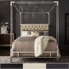 acrylic bedroom furniture. Shop Reid Acrylic And Chrome Canopy Bed With Tufted Headboard By INSPIRE Q  Bold - On Sale Free Shipping Today Overstock.com 19448217 Acrylic Bedroom Furniture E
