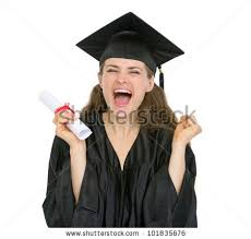 happy graduation student w showing diploma stock photo  excited graduation student girl diploma