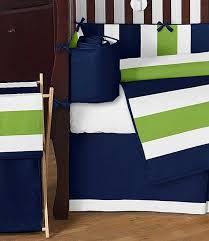 navy lime stripe crib bedding set by sweet jojo designs 9 piece