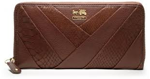 Lyst - Coach Madison Diagonal Pleated Exotic Accordion Zip in Brown