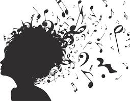 音符イラスト女性の髪から吹き出る音符 無料のフリー素材