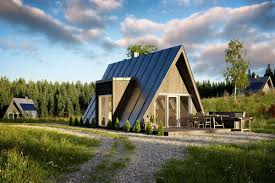 The Duo 100, an A-frame kit home available for sale from Avrame. All  renderings courtesy of Avrame