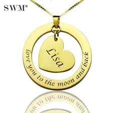 custom necklaces women circle love heart suspensions pendants necklace anniversary kolye collares costume jewelery bijoux chain