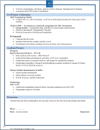 Resume Format For Mba Marketing Fresher Download