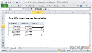 6 Minute Increment Chart Excel Formula Time Difference In Hours As Decimal Value
