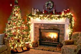 Decorations:Fun Decor Idea With Christmas Party Ornaments And Traditional  Brick Fireplace Feat Black Iron