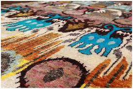 tribal ikat sari silk hand knotted blue rug 30014