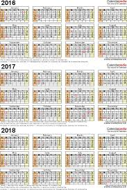 windows printable calendar 2018 2016 2017 2018 calendar 4 three year printable pdf calendars