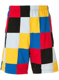 Shop <b>red</b> & <b>yellow Supreme</b> patchwork pique shorts with Express ...