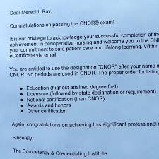 Just Adding A Few Letters To My Name Meredith Ray Rn Cnor