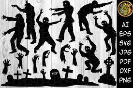 Free svg image & icon. Halloween Zombie Silhouette Clip Art Graphic By V Design Creator Creative Fabrica