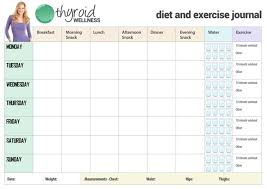 Diet Workout Journal Diet And Exercise Calendar Template Food And Exercise Log In