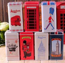 free shipping set of 7 retro vintage london style tea tin box
