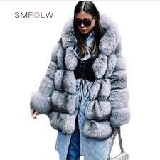 smfolw 2018 new fashion winter warm women faux fur coat