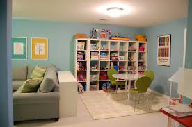 Decorations:Modern Kids Playroom Decor With Colorful Theme Ideas Kids  Playroom With Extraordinary Open Shelves