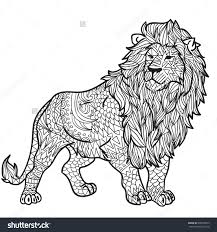 Small Picture Hand Drawn Coloring Pages With Lion Zentangle Illustration For