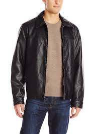 dockers men s james classic faux leather laydown collar open bottom jacket s