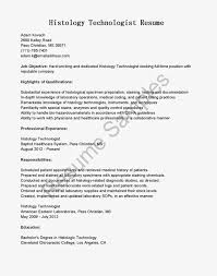 Histology Technician Cover Letter Medical Technologist Resume S