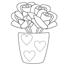 Small Picture Roses in Vase with Hearts Coloring Page Valentines Day