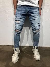 Light Blue Jeans Streetwear Light Blue Destroyed Slim Fit Denim B62 Streetwear Denim Jeans