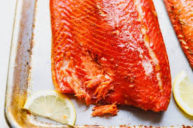 hot smoked salmon on a tray