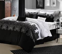 room ideas with black furniture. Alluring Black And White Bedroom With Fluffy Bed Lovely Bedding Beside Classic Oak Dresser Room Ideas Furniture M