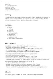 1 Cyber Security Specialist Resume Templates Try Them Now