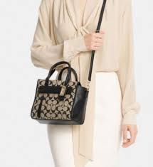 ... real coach bleecker mini riley carryall in printed signature fabric  ivory new khaki white 30168 7a8cd ...