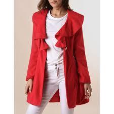 long sleeves ruffles lapel beam waist long sections stylish women s trench coat
