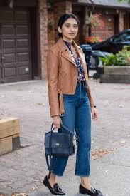 tan brown massimo dutti leather jacket and coach navy court bag