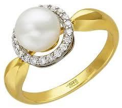 Эстет <b>Кольцо с бриллиантами</b>, <b>жемчугом</b> из комбинированного ...