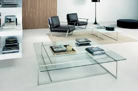 Modern Living Room With Rectangular Small Glass Coffee Tables Together With  Stunning Shelves And Black Leather